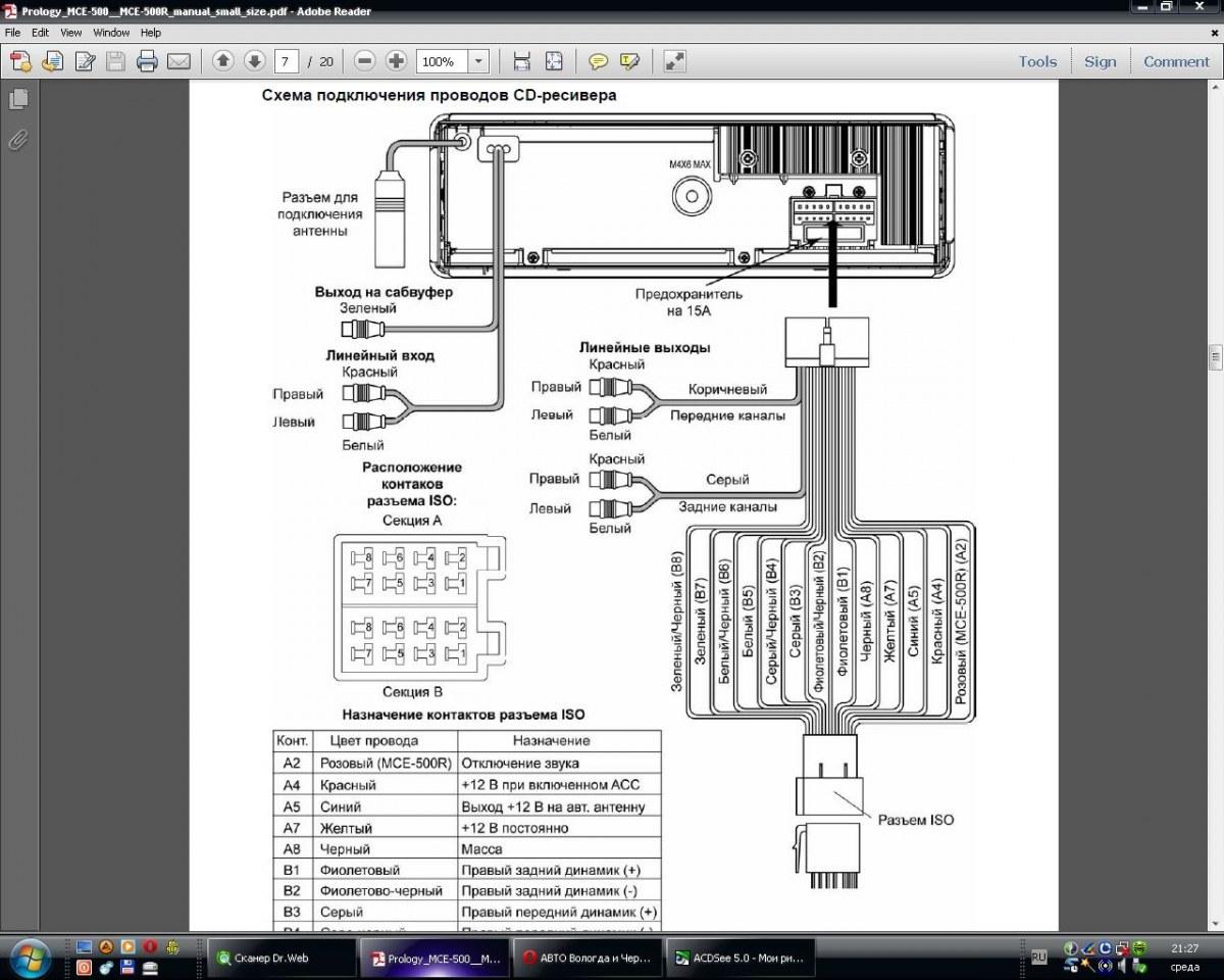 Схема установки магнитолы prology