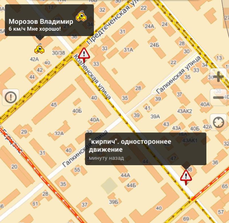 Схема движения по улице с односторонним движением